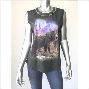 Zara Trafaluc Top Shirt Beaded Neck Sleeveless
